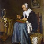 J._van_der_Aeck_An_Old_Woman_seated_sewing_1655