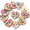 niceeshop(TM) 25mm Beautiful Hand Painted Heart Shape Wood Buttons,Colorful Design