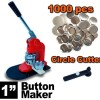"""New Deluxe 1"""" Press Button Badge Maker Machine Free 1000 Parts & Circle Cutter"""