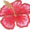 RED HIBISCUS w/GOLD METALLIC/Iron On Embroidered Applique/Flower,Tropical