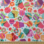 Cupcakes & Sweets Poly Cotton Print 60 Inch Fabric By the Yard (F.E.®)