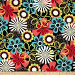 Michael Miller Contemporary Florals Flower Shower Clementine Fabric