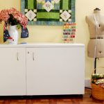 Kangaroo Kabinets Aussie Sewing White Ash Cabinet - With Free Turquoise Blue Sewing Chair