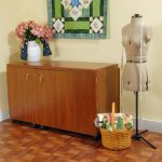 Kangaroo Kabinets Aussie Sewing Teak Cabinet - With Free Turquoise Blue Sewing Chair
