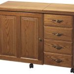 Sewingrite 6900 Cabinet with 4 Drawers and a Electric Lift, Honey Oak