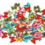 Pack of 50PCS Butterflies Buttons-Mixed Wood Buttons Sewing Scrapbooking Flowers Shaped 2 Holes