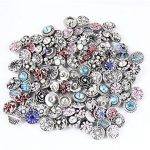 50 PCS Rhinestone Snaps Chunk Press Buttons 12mm for Snap Ginger Jewelry Making