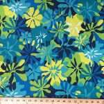 "Printed Canvas Fabric Waterproof Outdoor 60"" wide 600 Denier sold by the yard (Blue Tropical)"