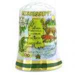Mississippi State Map Pearl Souvenir Collectible Thimble agc