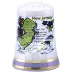 New Jersey State Map Pearl Souvenir Collectible Thimble agc