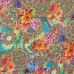 Hi-multi Chiffon Floral Medallion Treasure Print Fabric By the Yard