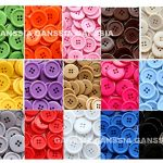 GANSSIA 15 Colors Buttons 0.88'' (22.5mm) Sewing Button Multi Colored Pack of 105 with Box
