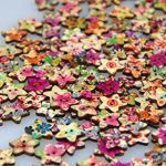 Pack of 50pcs Star Shaped Painted 2 Hole Wooden Mixed Buttons(15*18MM)