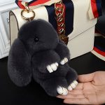 Flee Genuine Rabbit Fur Pendant Handbag Backpack Cell Phone Decoration Plush Doll Lazy Rabbit Toy (Dark gray)