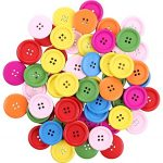"""Crystallove 4 Holes Mixed Color Environmental Buttons 30mm in Bulk for Sewing Fasteners Scrapbooking and DIY Craft (1.2"""", 30pcs)"""