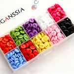 """GANSSIA 0.35"""" (9mm) Sewing Flatback Resin Buttons 10 Colors Multi-Colored Pack of 750 With Box"""